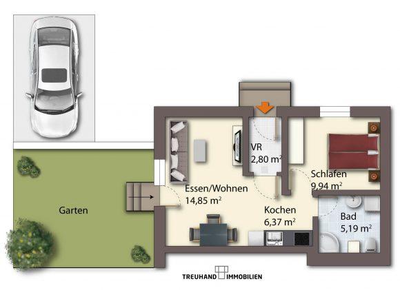 Grundriss möbliert - Mietwohnung in Villach mit Garten