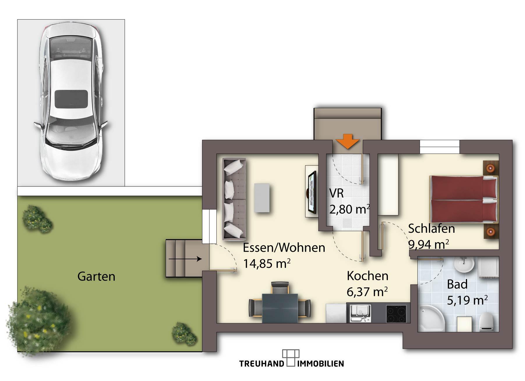 m blierte wohnung villach mieten 2 zimmer mit garten. Black Bedroom Furniture Sets. Home Design Ideas