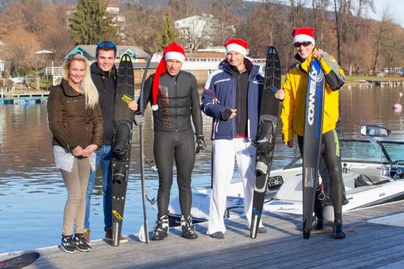 Das Team vom Strandclub Velden: Sabana, Nikki, Wolfgang, Alex und Bernie.