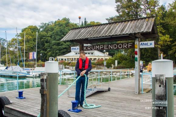 Anlegestelle der Wörthersee Schifffahrt in Krumpendorf am Wörthersee. Foto: pixelpoint/Handler