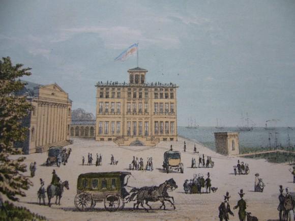 Kurhaus und Haus Mecklenburg mit Kutschen um 1855, Foto: Tourist-Information Bad Doberan-Heiligendam