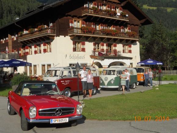 Auch das große Bulli Treffen im Juli 2014 hatte seinen Boxenstopp beim Hotel Schlosswirt in Großkirchheim