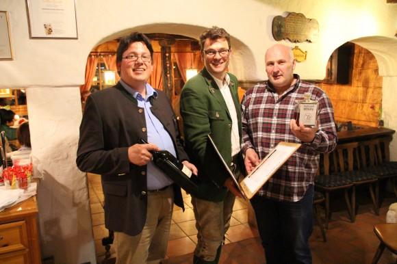 "Das Grand Final unserer Kulinarik-Veranstaltung ""Winzer am Berg"" war ein großer Erfolg.  vlnr. Erwin Gartner, Jakob Forstnig jun. und Wolfram Ortner"