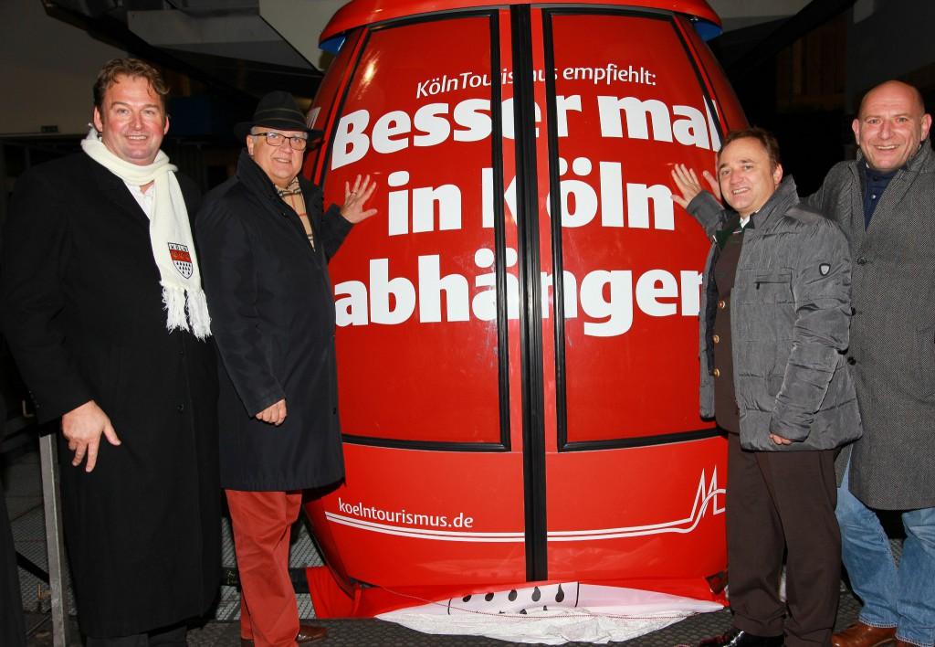 Einweihung der Kölner Gondel mit Initiator Jürgen Schwarz, Kölns Bürgermeister Hans-Werner Bartsch, Hermagors Bürgermeister Siegfried Ronacher, Georg Wohlrab (Köln Tourismus). Foto: Hannes Krainz
