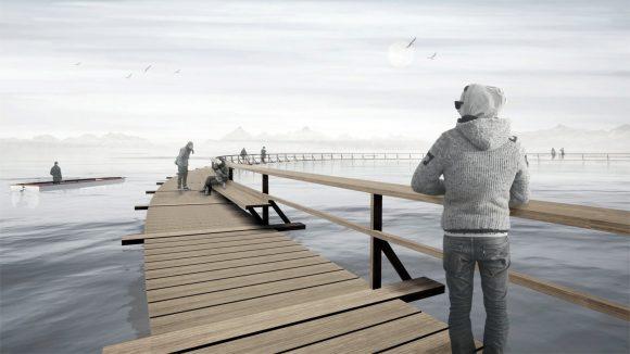 Entwurf für den schwimmenden Steg inmitten des Sees. (Foto: Architektur-Arge-Steiner-Hochauser-Wirnsberger)
