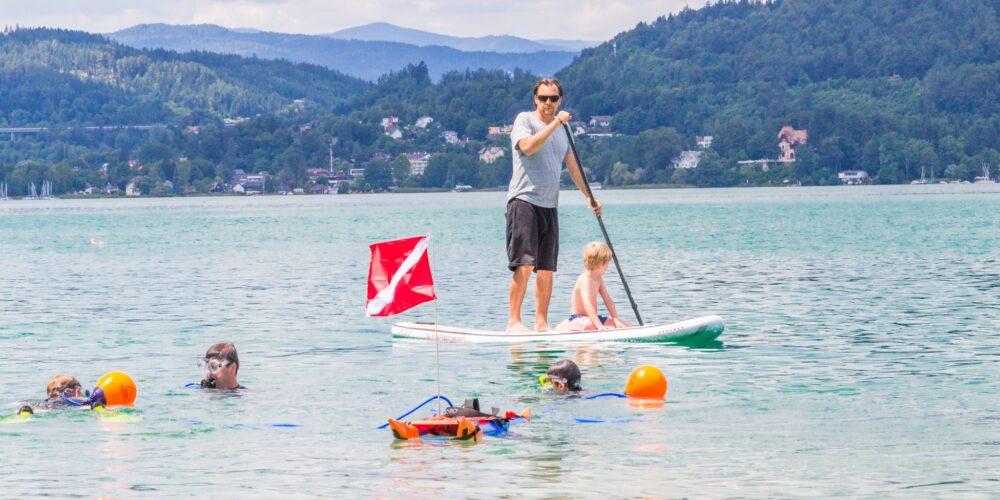Tauchen, Stand Up Paddling und Kanufahren am See