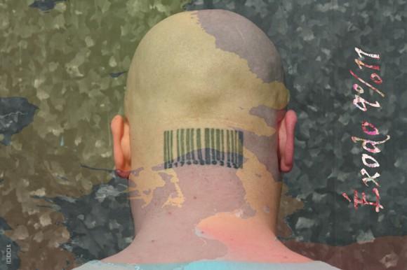 """1000&: """"Warum achten die uns schlachten"""", LebensZeichen """"achten"""", 2004, mixed materials, 1000x1000mm, Privatbesitz Foto: 1000&"""