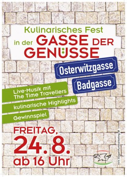 Plakat: Ankündigung für das kulinarische Fest in der Gasse der Genüsse.