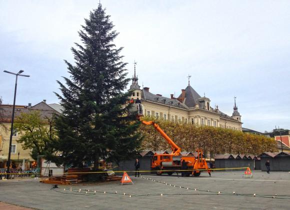 Am 11. November wurde der Klagenfurter Christbaum auf dem Neuen Platz aufgestellt. Foto: Wilkop/pixel.at