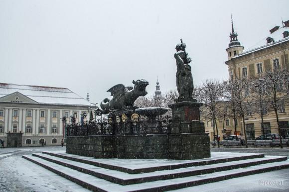 Wintereinbruch in der Lindwurmstadt. 24.1.2014