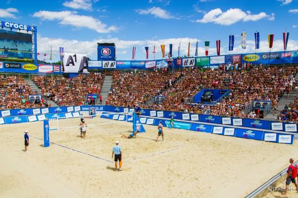 Publikumsmagnet Beach Volleyball in Klagenfurt am Wörthersee. Foto: pixelpoint