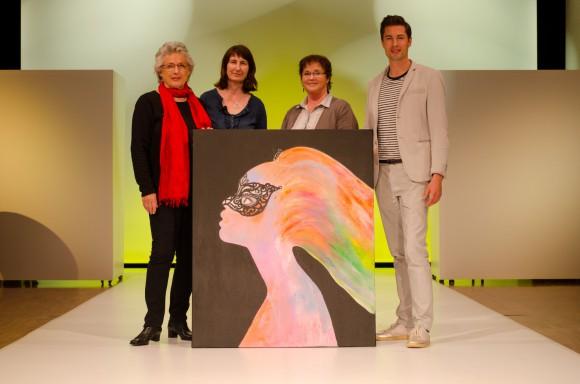 Brigitte Dimai (Künstlerin), Margit Steinwender (Kunstverein Velden), Jutta Kempfer (Obfrau Kunstverein Velden) und Hannes Markowitz (Casino Velden)