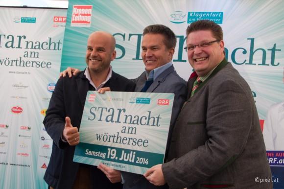 Strahlten bei der Pressekonferenz um die Wette: Martin Ramusch, Alfons Haider und IP Media-Geschäftsführer Josef Eigensperger.