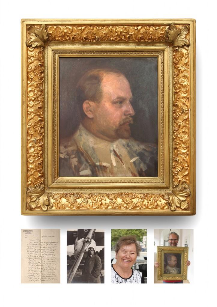1)Handgeschriebener Brief, 1946 2)Sohn Pilot Franz Eber, geb.1893 3)Enkelin Ilse Eber, geb 1941 4)Portrait Ölgemälde, Geschenk 2014