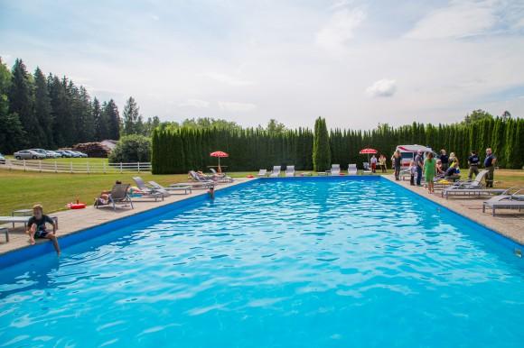 Spaß im Pool von Gut Drasing.