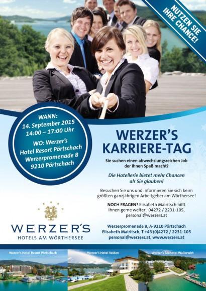 Werzer's Karrieretag findet am 14. September 2015 im Werzer's Hotel in Pörtschach statt.