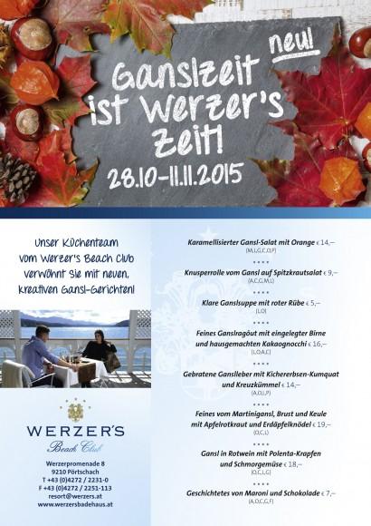 Speisekarte. Ganslkarte von Werzer's Beach Club Restaurant in Pörtschach.